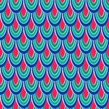 与抽象羽毛的色的传染媒介无缝的样式 免版税库存图片