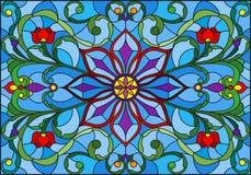 与抽象花、叶子和卷毛的彩色玻璃例证在蓝色背景,水平的取向 向量例证