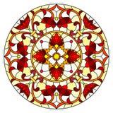 与抽象花、叶子和漩涡,在白色背景的圆图象的彩色玻璃例证 库存例证