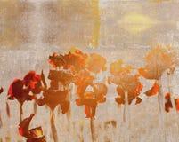 与抽象花剪影的葡萄酒明信片 库存图片