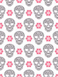 与抽象花卉头骨的无缝的样式 免版税库存图片