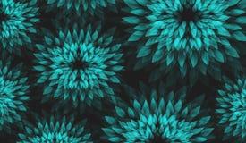 与抽象花卉Motiv的传染媒介背景 在黑暗的背景的绿松石花 免版税库存图片