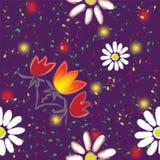 与抽象花和五颜六色的飞溅的无缝的样式 库存图片