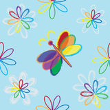 与抽象花和蝴蝶的无缝的构成 免版税图库摄影