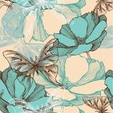 与抽象花和decorat的无缝的样式 免版税库存图片