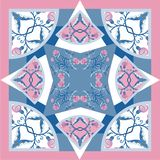 与抽象花的丝绸围巾delicat颜色导航与手拉的花卉元素的样式 库存图片