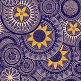 与抽象花的模式,在黄色和蓝色 库存照片