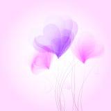 与抽象花的浪漫背景从心脏塑造 免版税库存照片