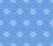 与抽象花的蓝色无缝的墙纸 向量例证