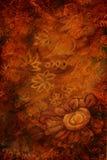 与抽象花的豪华金子褐色背景 垂直 免版税库存照片