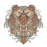 与抽象花饰的熊 纹身花刺艺术 库存例证