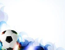 与抽象蓝色瓣的足球 免版税库存照片