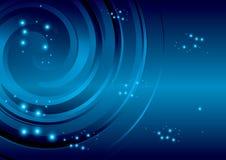 与抽象螺旋的深蓝背景 免版税库存照片