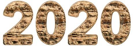 与抽象表面的数字2020年从自然石灰石, 免版税库存图片
