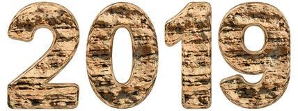 与抽象表面的数字2019年从自然石灰石, 免版税库存图片