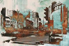 与抽象难看的东西的都市都市风景 皇族释放例证