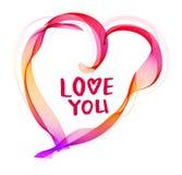 与抽象颜色心脏和t的美丽的华伦泰的背景 免版税库存照片