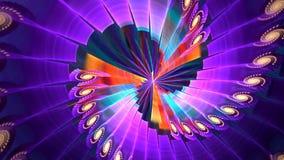 与抽象紫罗兰色螺旋的分数维背景 高详细的圈 股票录像