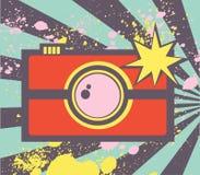 与抽象photocamera的流行艺术例证 向量例证