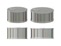 与拉扯选项,包括的裁减路线的空白的铝锡罐集合 免版税库存图片