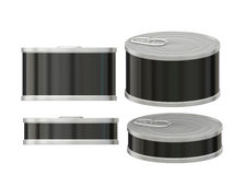 与拉扯选项,夹子的短的圆柱形空白的黑标签锡罐 库存图片