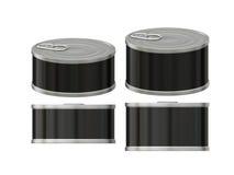 与拉扯选项,截去的p的短的圆柱形黑标签锡罐 库存照片