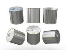 与拉扯选项,裁减路线inclu的铝空白的食物锡罐 库存照片