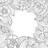 与拉长的花和植物的背景装饰的 免版税图库摄影