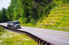 与拖车的现代半卡车船具在绿色高途中 库存照片