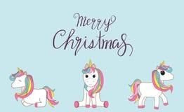 与招呼的圣诞快乐的独角兽消息 传染媒介illustrati 库存例证