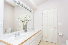 与拱顶式顶棚的白色卫生间内部 免版税库存照片