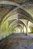 与拱顶式顶棚,喷泉修道院的Cellarium 免版税库存照片