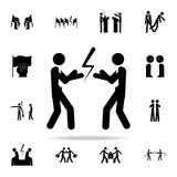 与拳击手套的商人准备好对fighticon 网和机动性的冲突象全集 向量例证