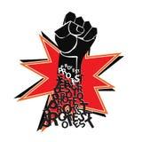 与拳头抗议传染媒介的红色和黑海报 库存图片