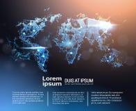 与拷贝空间、全球性旅行和国际连接概念的多角形世界地图Infographic横幅 向量例证