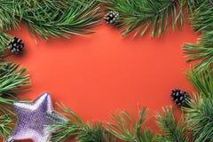 与拷贝空间的圣诞节装饰 免版税图库摄影