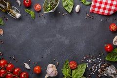 与拷贝空间的意大利食物 西红柿、大蒜、蓬蒿、橄榄油、pesto、胡椒混合、盐和红色餐巾 库存图片