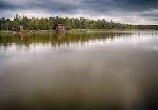 与拷贝空间的湖风景 图库摄影