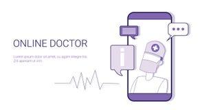 与拷贝空间的网上Healthcare Mobile Application Business医生概念模板网横幅 免版税库存照片