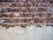 与拷贝空间的老被风化的砖墙纹理 免版税库存照片
