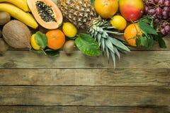 与拷贝空间的顶面上部边界从新鲜的热带水果菠萝番木瓜芒果椰子桔子猕猴桃香蕉柠檬葡萄柚 免版税库存照片