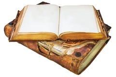 与拷贝空间的两本地道中世纪古色古香的书 免版税图库摄影