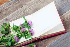 与拷贝空间的册页和三叶草花 图库摄影
