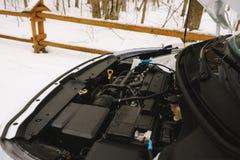 与拷贝空间的发动机特写镜头 室外照片在冬天 免版税库存图片