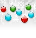 与拷贝空间的圣诞节五颜六色的球 免版税图库摄影