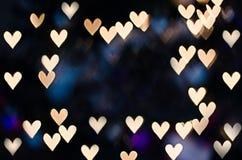 与拷贝空间的心脏bokeh 免版税库存图片