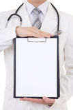 与拷贝空间的文件夹文本的在医生的手上 免版税库存图片