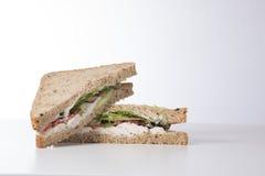 与拷贝空间的新鲜的鸡丁沙拉三明治 免版税库存照片