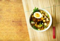 与拷贝空间的日本汤 免版税库存照片