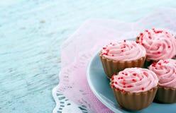 与拷贝空间的桃红色巧克力杯形蛋糕果仁糖 库存图片